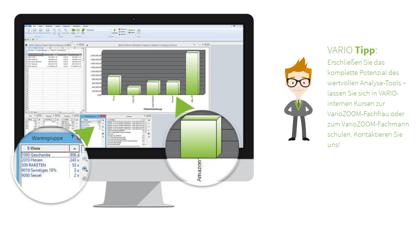 Analysetool aller Verkäufer inklusive Ebay, Amazon, Hitmeister und Onlineshop mit der VARIO Zoom BI-Software