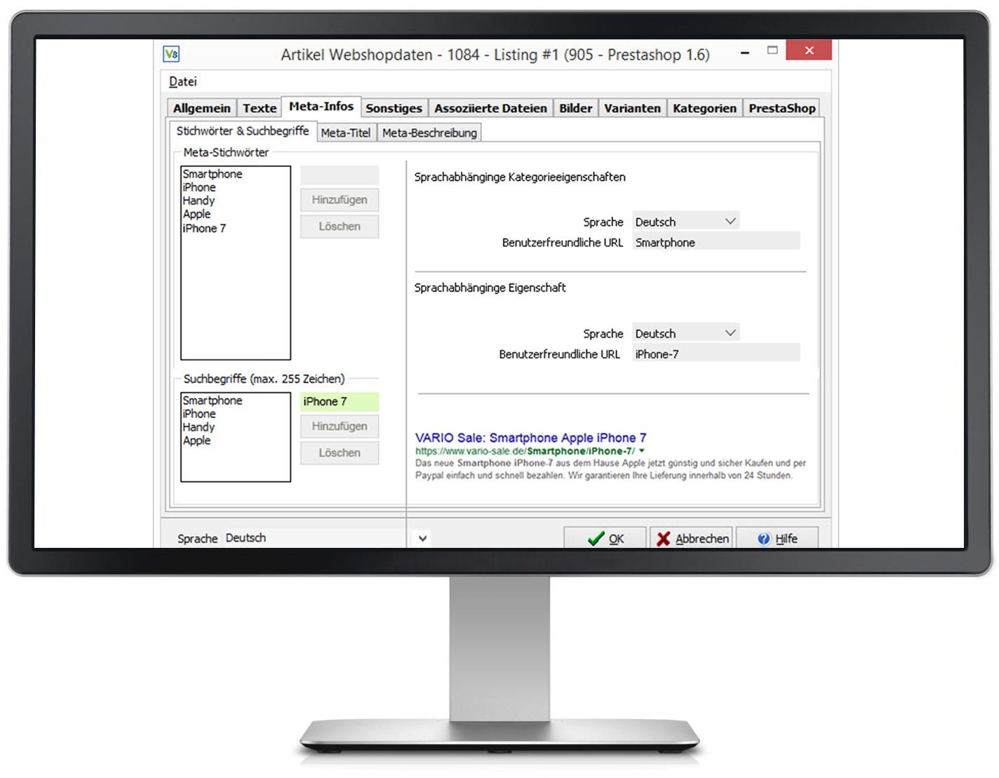 VARIO 8 bietet mit der leistungsstarken ERP-Schnittstelle zu PrestaShop eine Erfolgsbasis für die Suchmaschinenoptimierung (SEO)