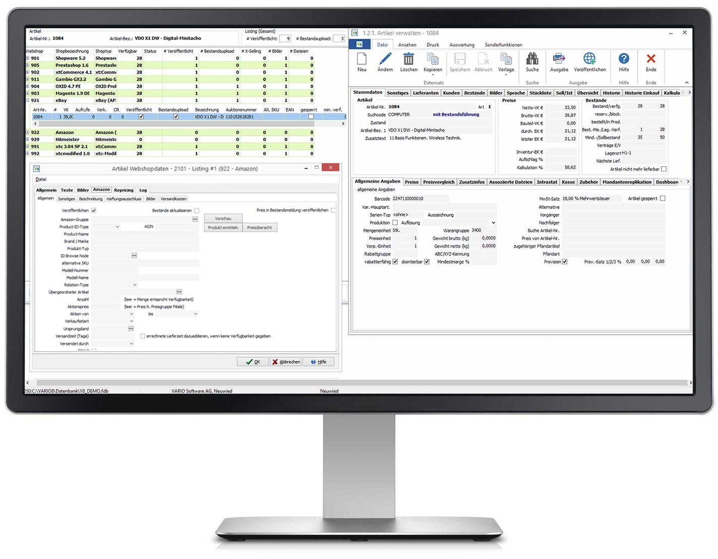 Mit den VARIO-Listings die Aktivitäten auf Amazon & Co. im Warenwirtschaftssystem verwalten und überwachen.