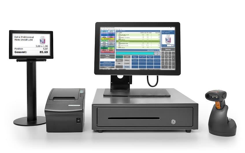 VARIO Kassensystem: Touch-Screen, Kassenschublade, Scanner, Kundendisplay und Bondrucker