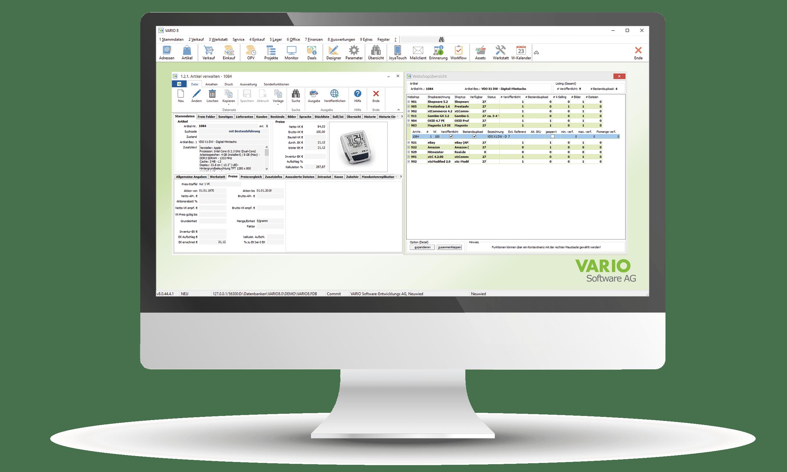 Funktionen der Artikelverwaltung in VARIO