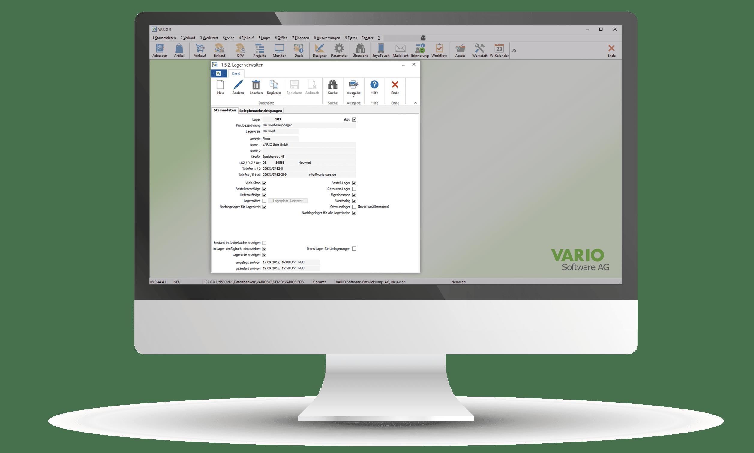 Interface der Lagerverwaltung und der Versandabwicklung in der VARIO Warenwirtschaft