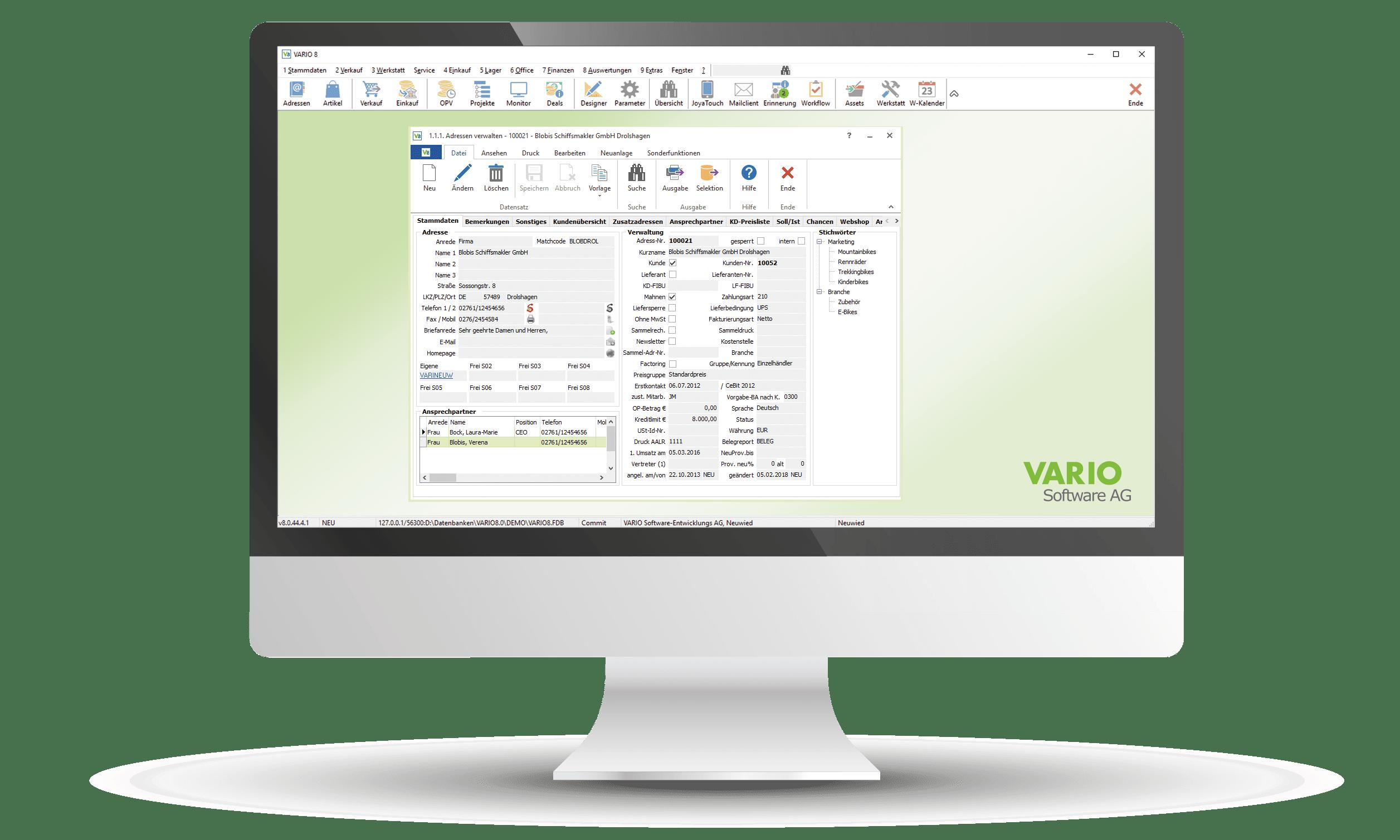 CRM mit Adressverwaltung in der VARIO Warenwirtschaft