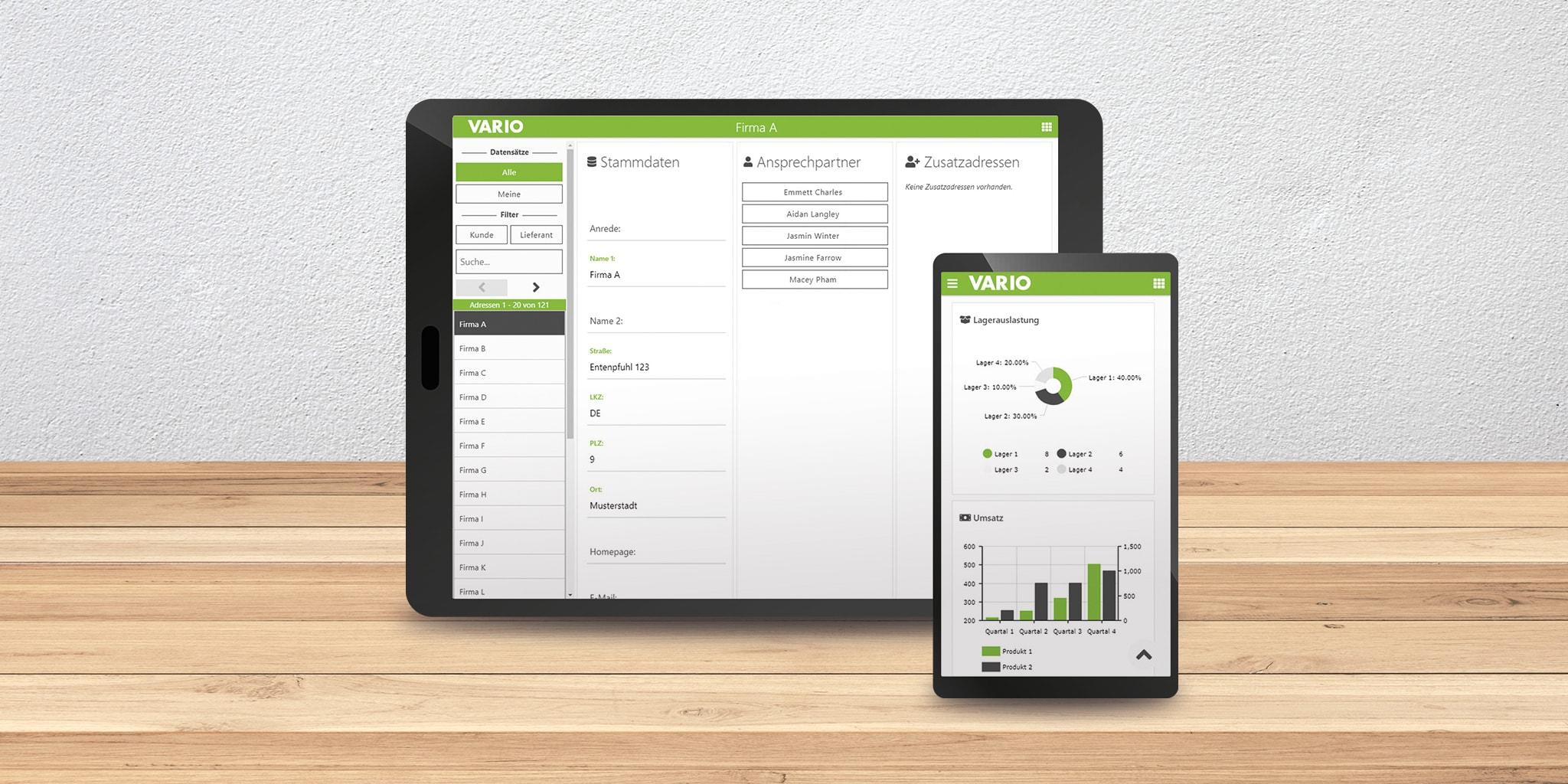 Interface der Vermietungssoftware in der VARIO Warenwirtschaft