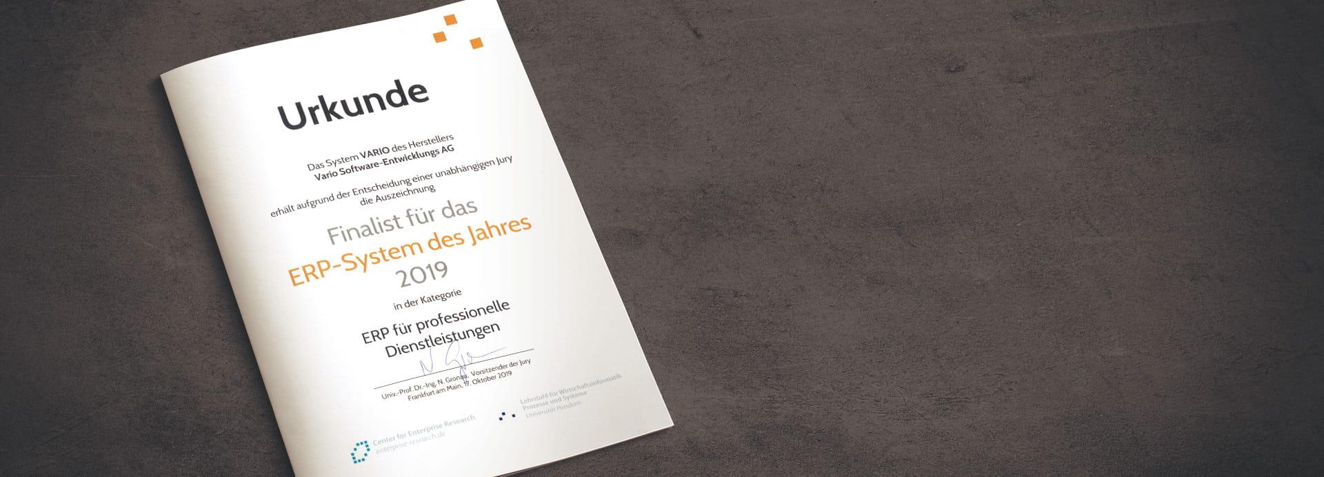 Urkunde Finalist ERP des Jahres 2019