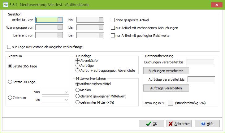 Screenshot: Neubewertung von Mindest- und Sollbestände in VARIO