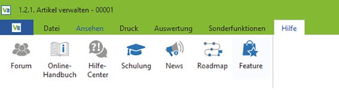 Screenshot Hilfe-Menü VARIO