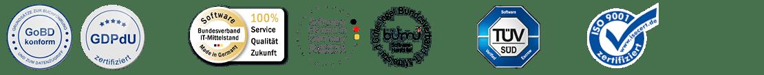 Auszeichnungen und Siegel der FibuNet Software für Buchhaltung
