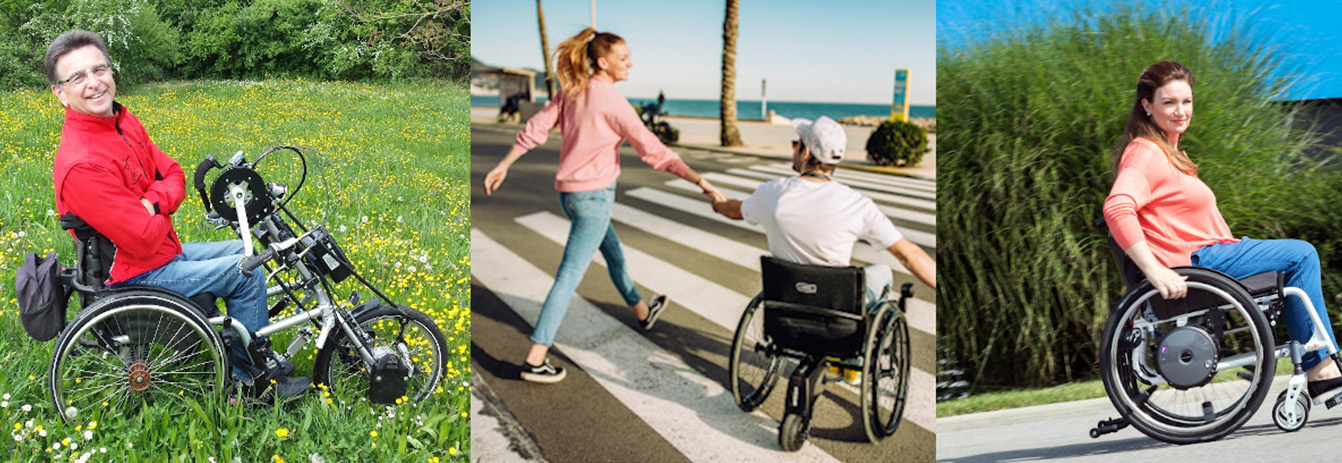Frau und Mann im Rollstuhl in der Natur