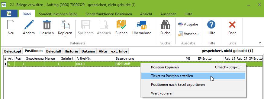 Funktion Ticket zur Auftragsposition in VARIO8- Neue Funktion in VARIO8