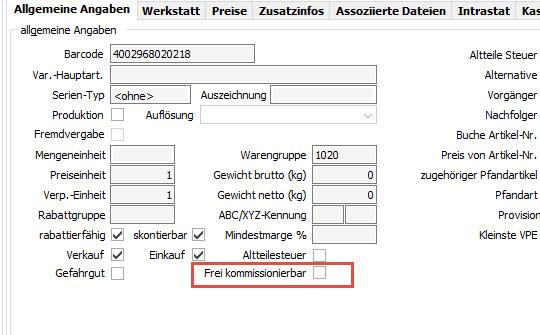 Frei kommissionierbare Artikel im VARIO Warenwirtschaftssystem