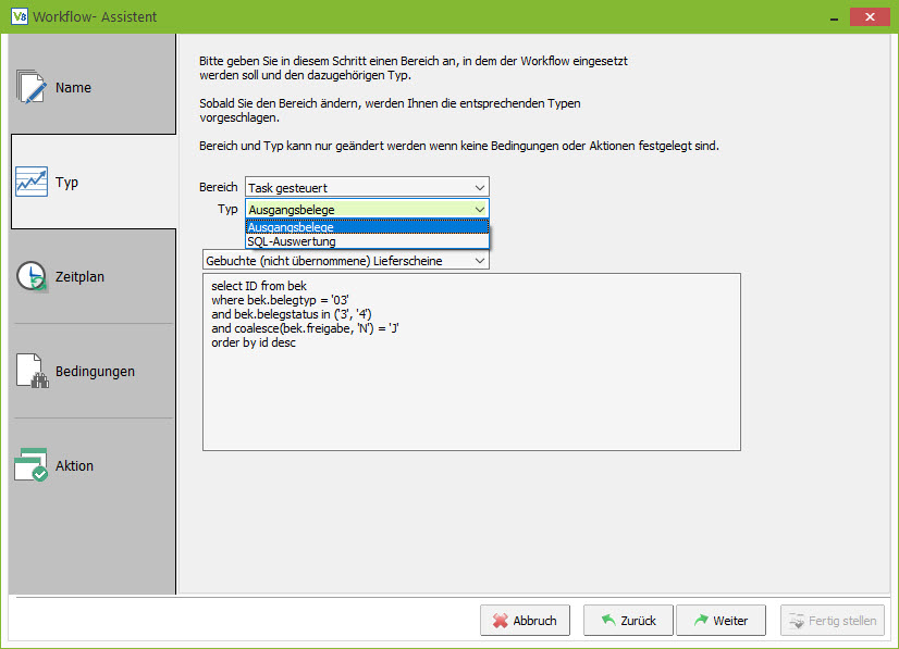 VARIO 8 Workflow-Assistent: SQL-Auswertung
